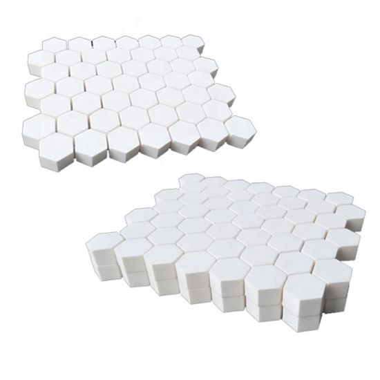 Excellent Wear Resistance 92% Alumina Hexagone Ceramic Mosaic Tile / Lining Mat for Mining Equipment