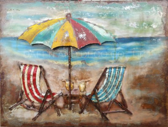 Metal Decoration Oil Painting Wall Art Beach Iron Umbrella and Chair 3D Dimension pictures & photos