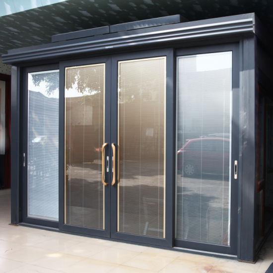 Large Size Interior Aluminum Sliding Glass Door with Insert Blinds for Main Door