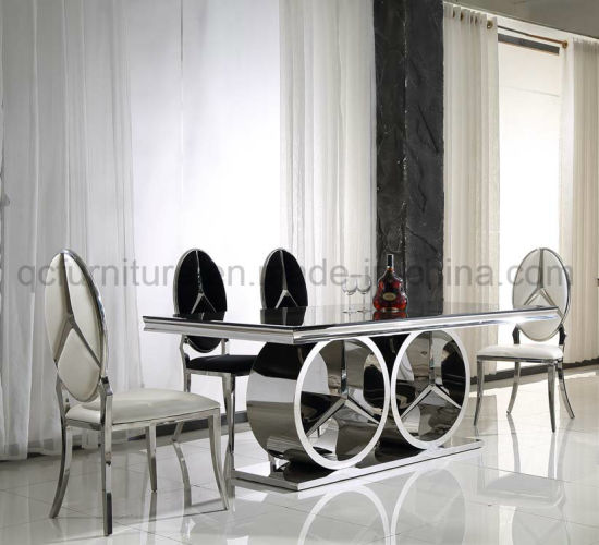 Mercedes Shape Stainless Steel Base Black Glass Top Dining Table