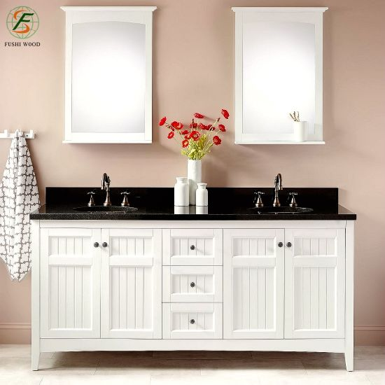Amazon 2019 White High End Bathroom Cabinets Solid Wood Sink Vanity Manufacte From Shandong