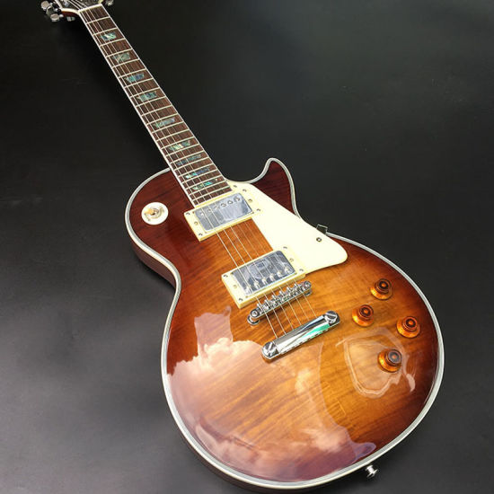 Custom Shop Lp Electric Guitar, Solid Mahogany Body with Bacon Color Flamed Maple Top, Chrome Hardware