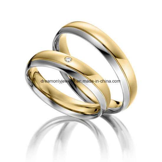 China Customized White And Gold Wedding Ring Couple Rings With