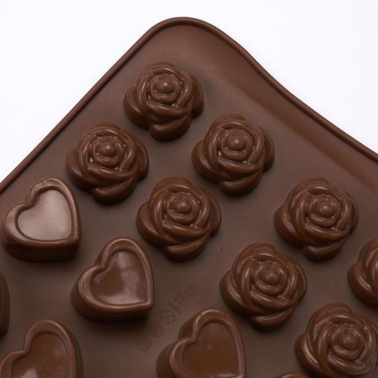 Flower Heart Cube Shape Food Grade Custom Chocolate Mould