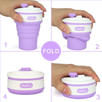 Eco-Friendly Amazon New Product in Stocked Wholesale Travel Reusable Foldable Silicone Coffee Collapsible Cup with Lid