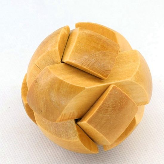 Wooden Puzzle Brain Teaser Training Toys Soccer Shape Kong Ming Lock Luban Cube Educational Toys for Children Adults