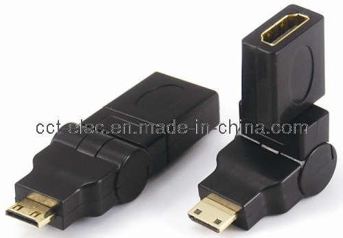 Mini HDMI Male to HDMI Female Adaptor, Rotating 360