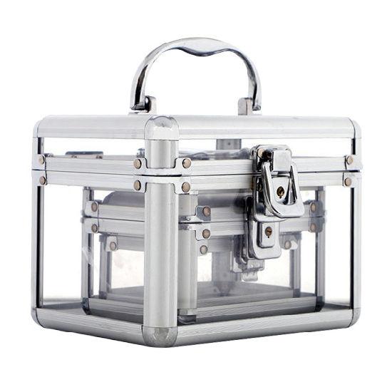 7915eba9c Factory Wholesale 3 Size Transparent Acrylic Makeup Train Aluminum Cosmetic  Case pictures & photos