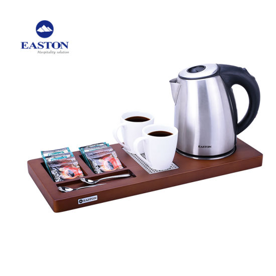 Hotel Guestroom 1.0L Stainless Steel Kettle with Wooden Tray
