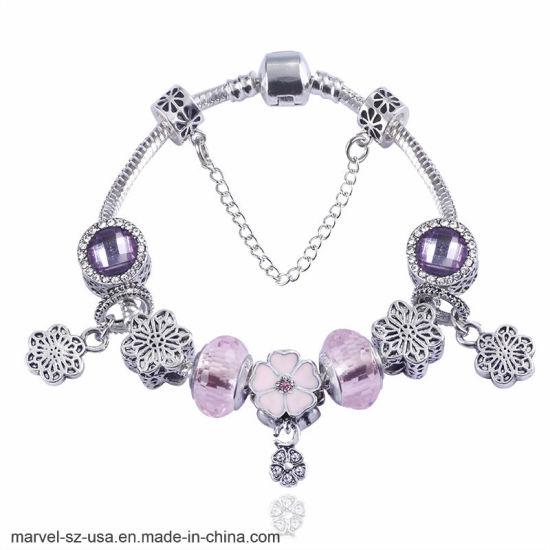 DIY Beads Crystal Charm Silver Bracelets & Bangles Jewelry Gift Women Bangle
