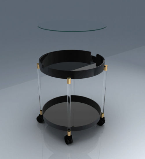 Black Color Tea Table With Wheels For Home Garden Furniture