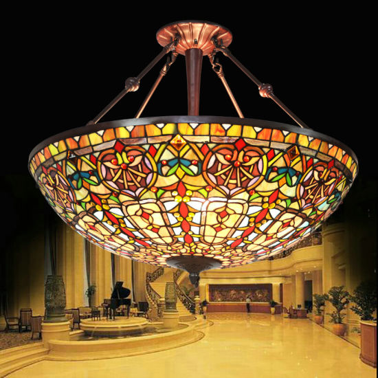 """UL Approved 27"""" Baroque Tiffany Ceiling Pendant Lamp for Hotel Villa with Stained Glass"""