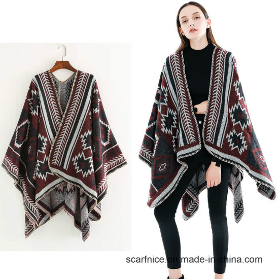 d923b02639eb9 Fashionable Ladies Autumn Winter Scarf Blanket Geometric Women Warm Cashmere  Poncho and Capes Long Thick Shawl