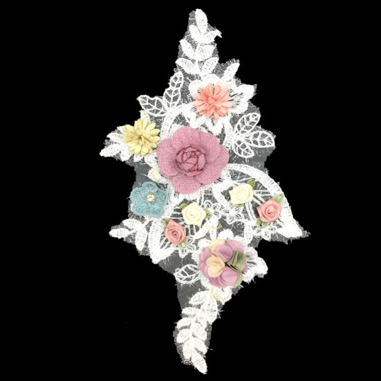 Diy Wedding Dress Collar Lace Flower Embroidery Patch Floral Applique