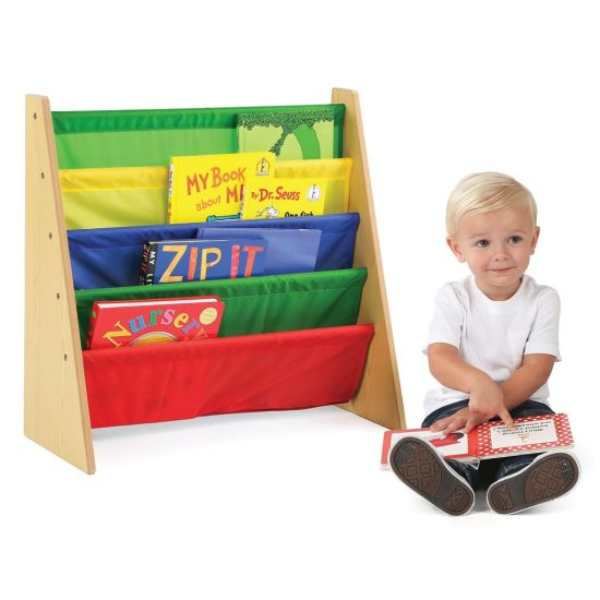 Children Bookshelf Bookcase Furniture Nursery School With Nylon Fabric Carrier