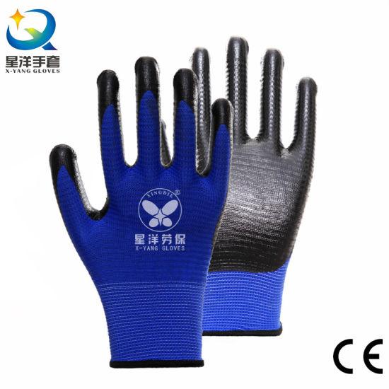 13G Zebra U3 U4 Polyester Liner with Nitrile Safety Work Gloves