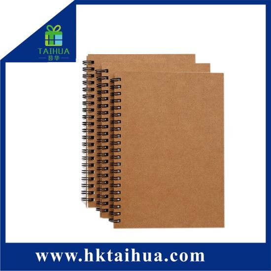 Wholesale Custom A5 Hardcover Cheap Kraft Paper Spiral Bound Notebook Blank Page