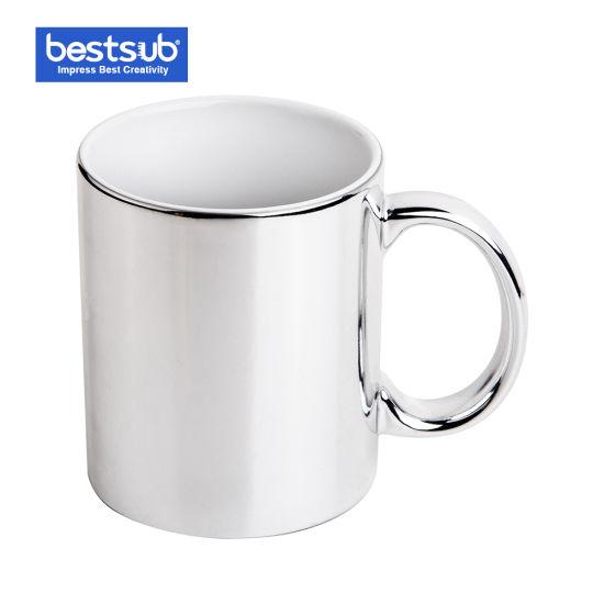 6517ba305e2 Bestsub Christmas Gifts Customize 11oz Sublimation Silver Plated Ceramic Mug