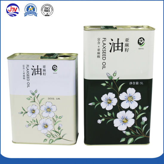 Custom 2.5 Liter Metal Edible Olive Oil Tin Cans Boxes