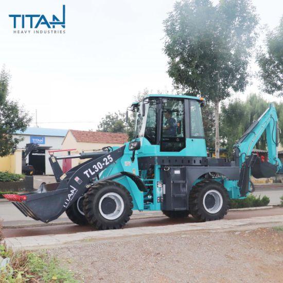 CE OEM ISO SGS China Titanhi Wz30-25 2.5ton Shovel Front 2500kg Tractor Loader Towable Backhoe