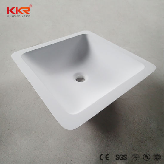 Solid Surface Counter Table Top Hand Wash Basin Rectangular Design Sinks