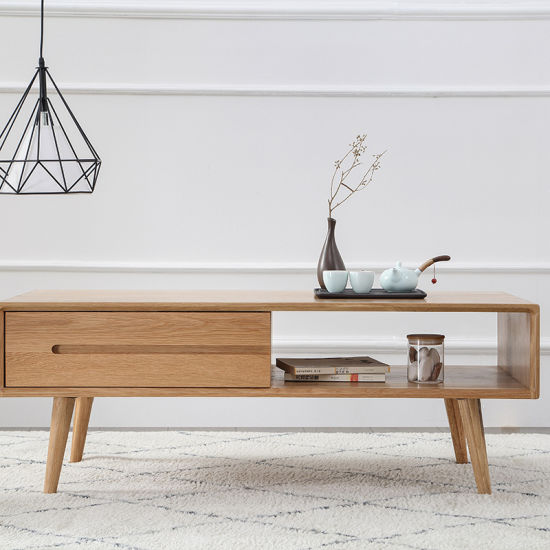 Coffee Tables with Storage Shelf and 1 Drawer Nesting Coffee End Tables