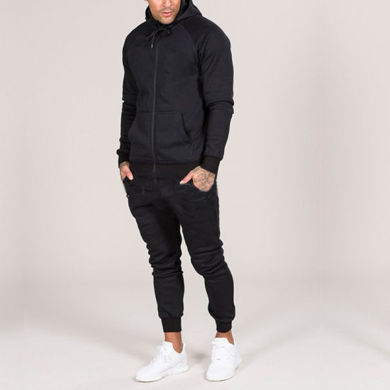 Men's Hoody Wholesale Sweat Suits Jogging Suits Sports Wear Black Track Suit