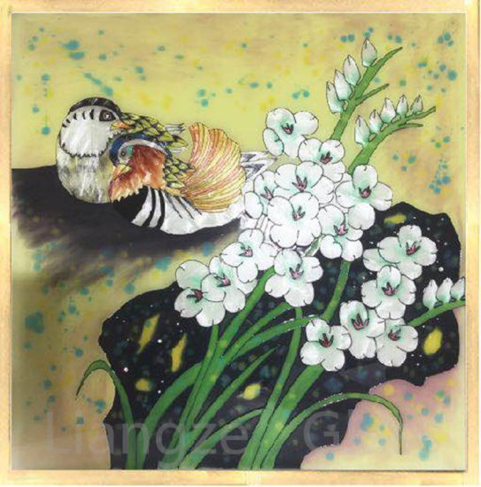 Cloisonne Filigree Painting on Tempered Glass for Home Decoration