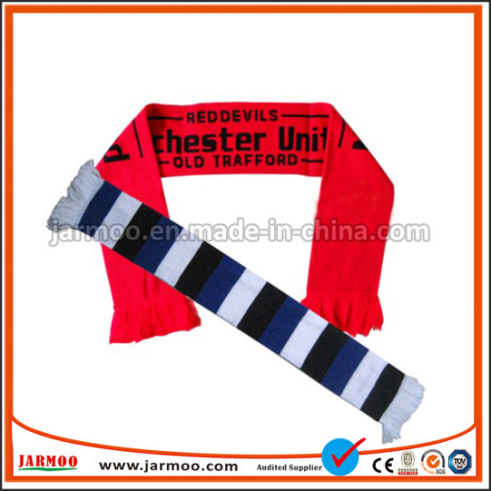 High Quality Acrylic Knitted Soccer Fan Scarf