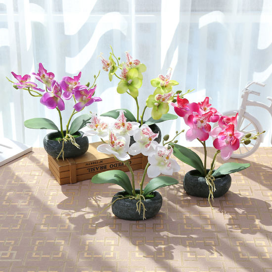 New Style Home Decoration Two Branches Phalaenopsis Silk Flower Artificial
