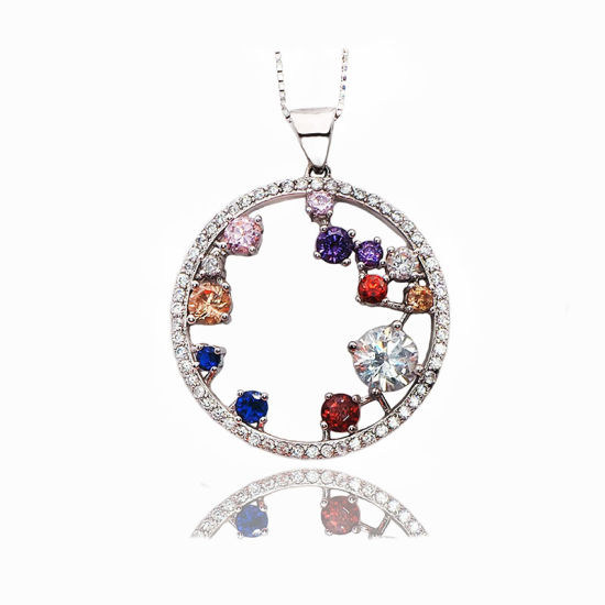 Silver Jewellery/Fashion Jewellery Pendant Necklace with Colorful Stones for Party/Wedding