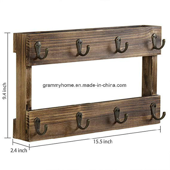 China Rustic Burnt Wood Coffee Mug Hanging Rack With 8 Hooks China Wood Crate And Wood Box Price