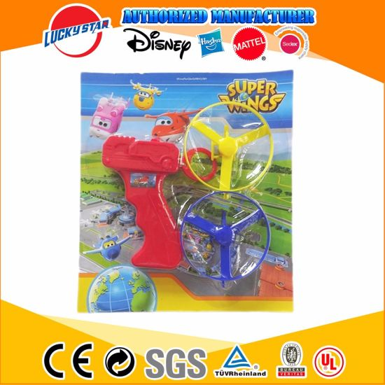 Pull String Helicopter Toys Sky Spin Aerial Disc Launcher