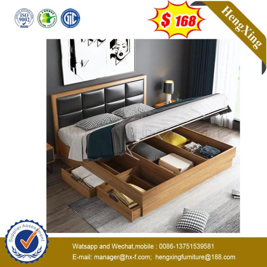 Modern Simple Style Home Hotel Bedroom Furniture Set Double Bed (UL-9GD058)