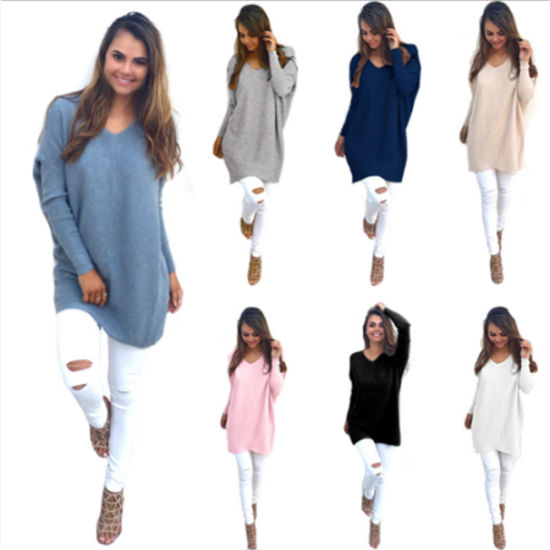 Women's Cotton Knitted Long Sleeve Loose Casual Pullover Tunic Sweatshirt Tops