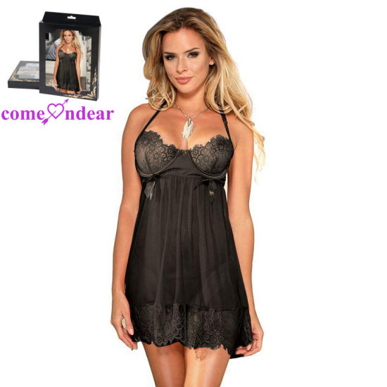 Wholesale Ladies Black Lace Transparent Sexy Lingerie Babydoll Set pictures & photos