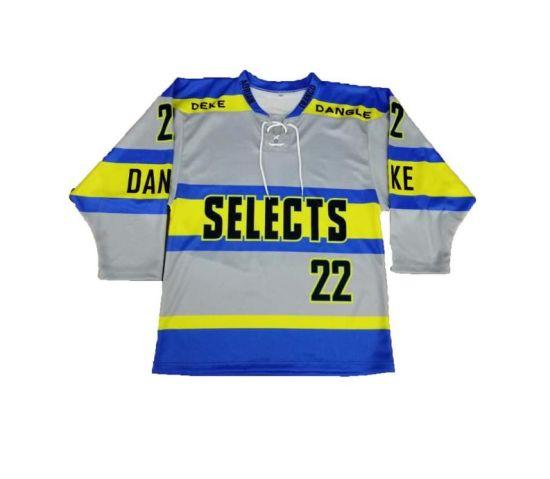 Ice Hockey Jersey Any Logo Sublimated Golden Custom Hockey Jersey