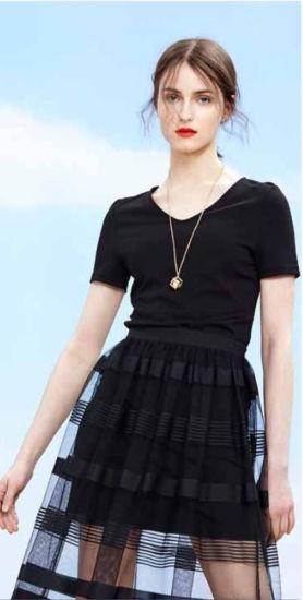 Wholesale Women Garment Brand Stock Black Short Sleeve Party Dress