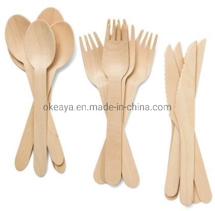 Fsc Certificat Eco-Friendly 100% Natural Birch Disposable Wooden Cutlery Spoon Fork Knife