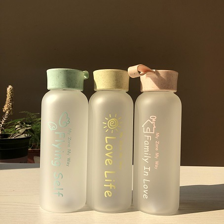 Customized New Product Portable Heatproof Glass Water Bottle with Smile Face 2020 Hot Sale