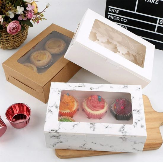 Bakery Cupcake Boxes Cake Carrier 6 Holder Cup Cake Boxes with Clear Window Lid