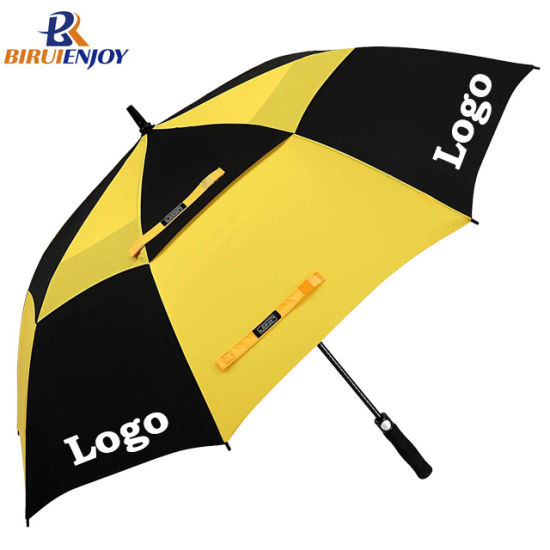 Custom Windproof Black Yellow Golf Umbrella with Logo Print Auto Open Double Canopy for Promotion/Gifts/Events