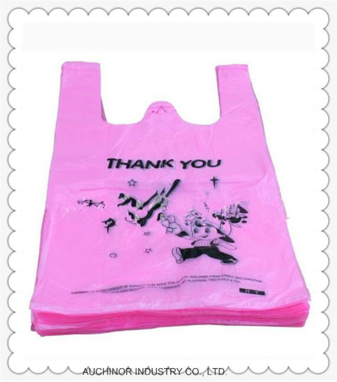 Supermarket Custom Logo Transparent T-Shirt Vest Shopping Bags pictures & photos