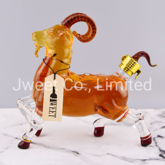 Custom Animal Glass Wine Bottle Wholesale Goat Shape Liquor Bottle