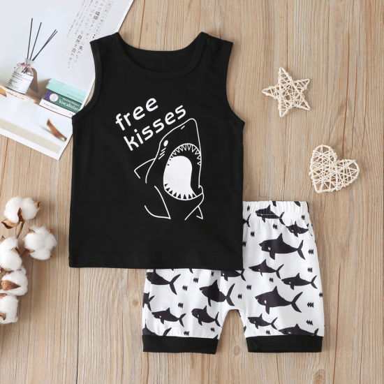 Children Clothing Shark Print Short-Sleeved Two-Piece Set Baby Clothes