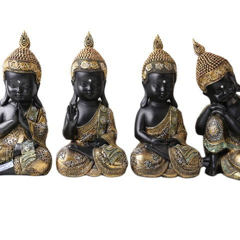 2020 Hotsell Tabletop Small Cute Peaceful Baby Buddhist Sitting Resin Thai Buddha Statue