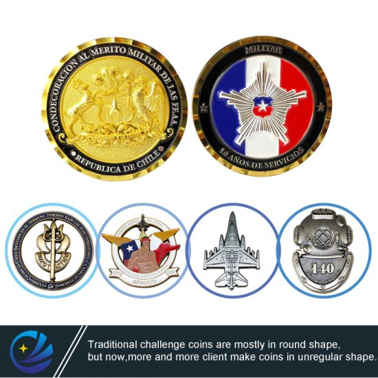 Factory Customized Metal Crafts 3D Logo Soft Enamel Challenge Coin Chile Germany Military Police Award Souvenir Coins for Promotion Gift (CO01)