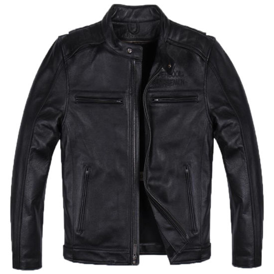 Front Zipper Pocket Back Print Black Real Leather Men Casual Jackets
