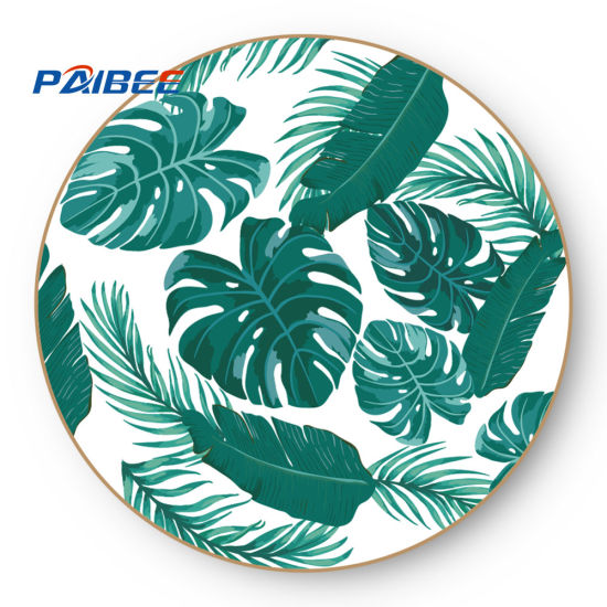Paibee 12'' Green Leaf Charger Plate Ceramic Plate Dinnerwear Set Party Platter Bone China Plate A Grade