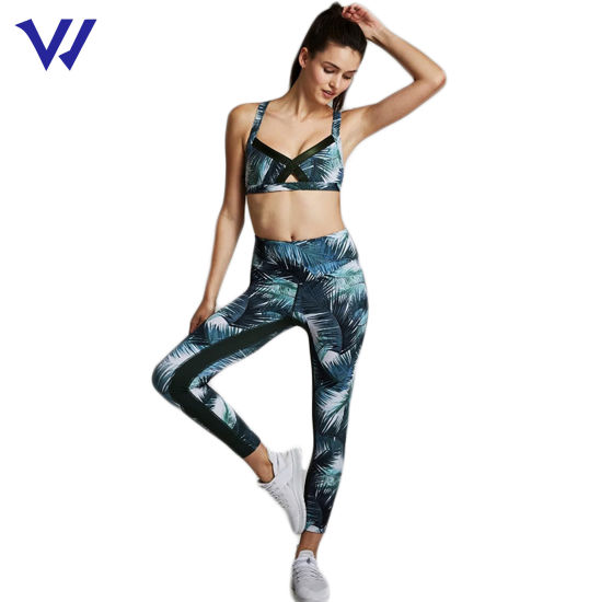 Breathable Running Yoga Pants and Bra Gym Wear Women Sets Active Sports Sublimation Yoga Set for Women